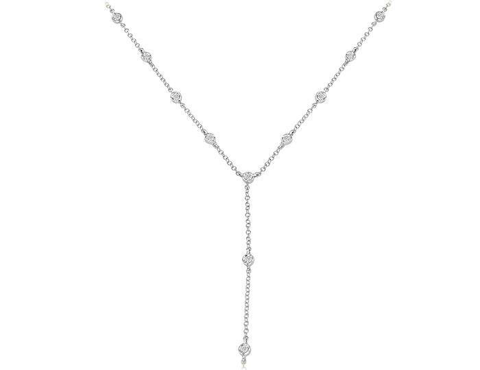 Meira T round brilliant cut diamond necklace in 18k white gold.