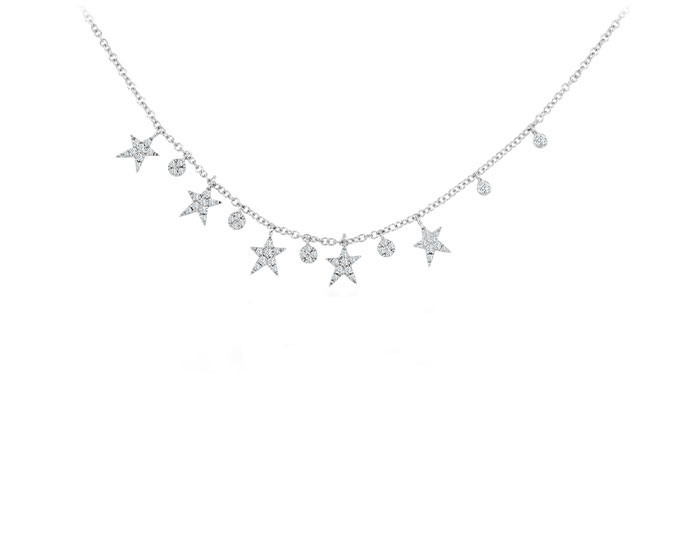 Meira T diamond star necklace in 18k white gold.