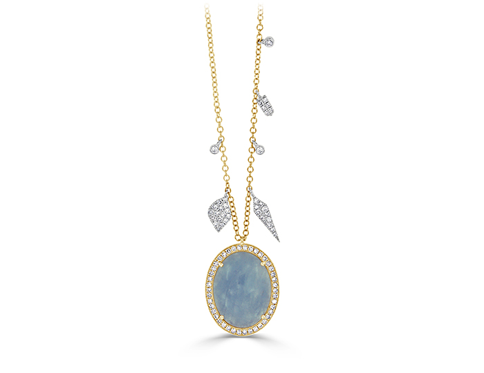 Meira T Aquamarine and single cut diamond necklace in 18k yellow gold.