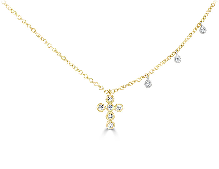 Meira T round brilliant cut diamond cross necklace in 18k yellow gold.