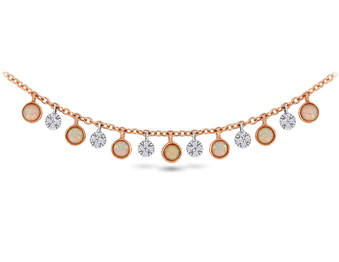 Meira T opal and single cut diamond necklace in 18k rose gold.
