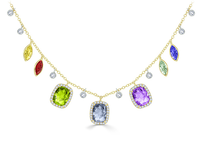 Meira T multi-stone and diamond necklace in 18k yellow gold.