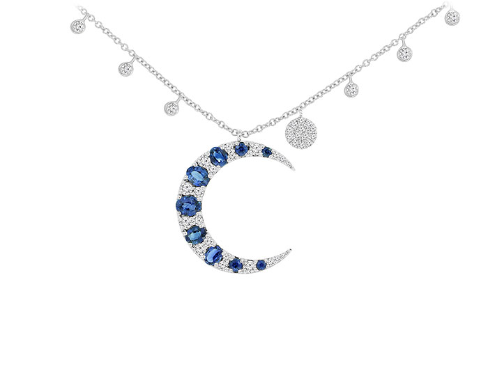 Meira T sapphire and round brilliant cut diamond crescent moon necklace in 18k white gold.
