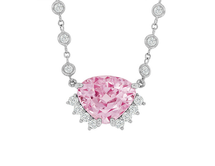Kunzite and round brilliant cut diamond pendant in 18k white gold.