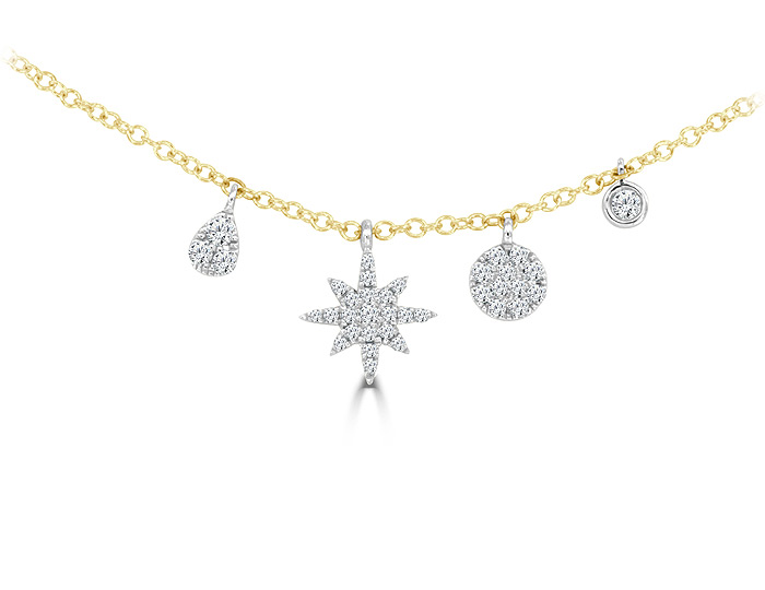 Meira T single cut diamond necklace in 18k yellow gold.