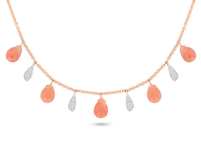 Meira T pink opal and diamond necklace in 18k rose gold.