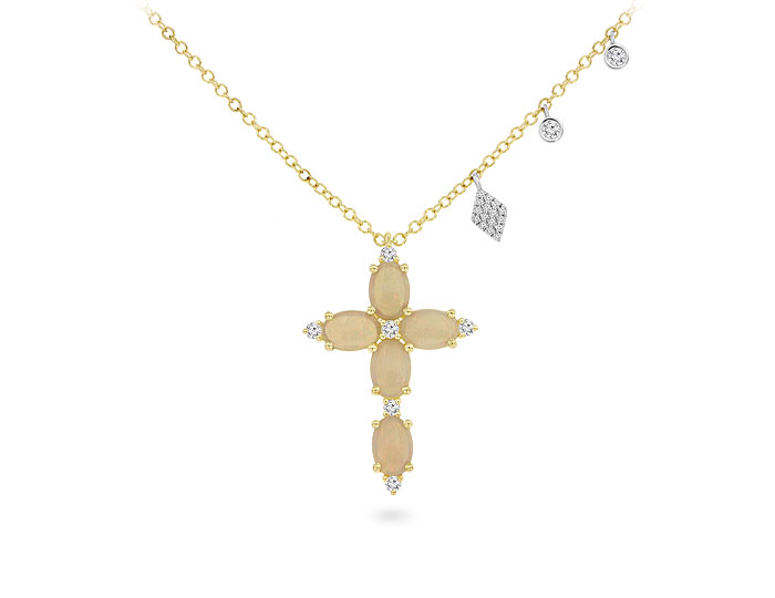 Meira T opal and round brilliant cut diamond cross necklace in 18k yellow gold.