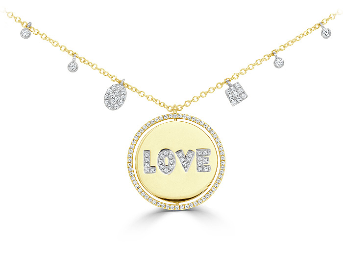 Meira T diamond love necklace in 18k yellow gold.
