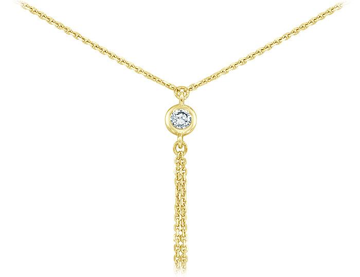 Meira T round brilliant cut diamond lariat necklace in 18k yellow gold.