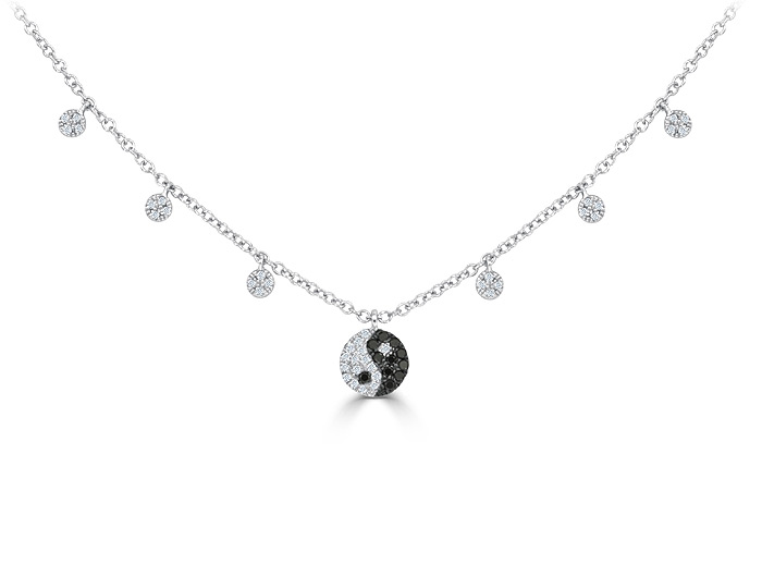 Meira T black diamond and round brilliant cut diamond yin and yang necklace in 18k white gold.