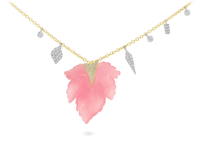 Meira T rose quartz and single cut diamond necklace in 18k yellow gold.
