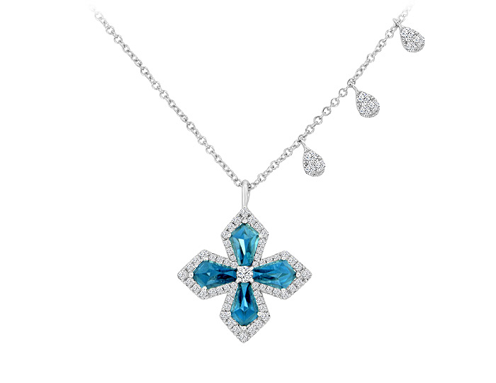 Meira T blue topaz and diamond necklace in 18k white gold.