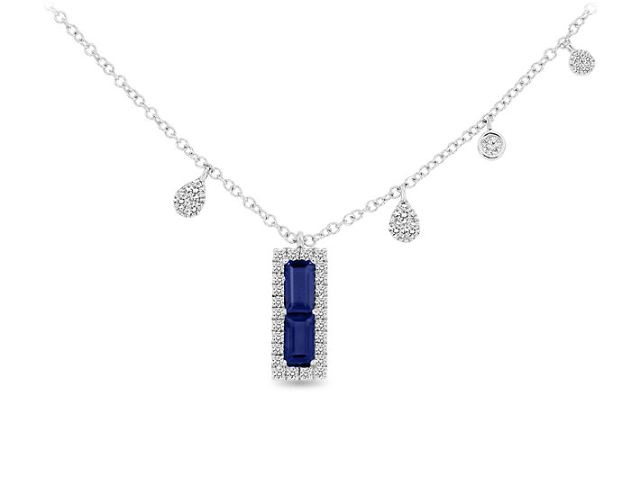 Meira T emerald cut sapphire and single cut diamond necklace in 18k white gold.