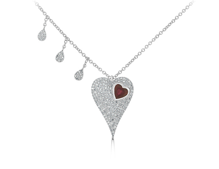 Meria T ruby and diamond necklace in 18k white gold.