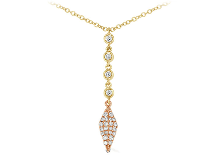 Meira T round brilliant cut diamond necklace in 18k yellow and rose gold.