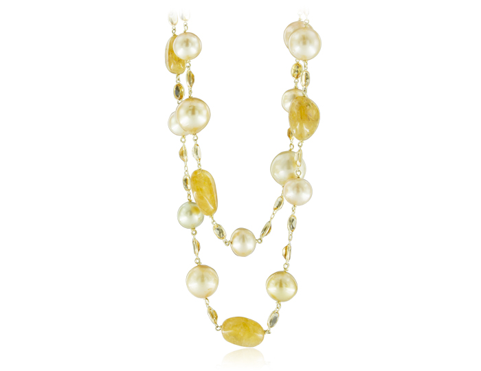 Golden South Sea pearl and citrine necklace in 18k white gold.