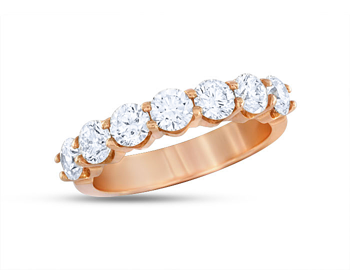 Round brilliant cut diamond band in 18k rose gold.