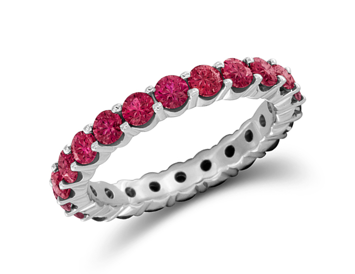 Ruby band in 18k white gold.