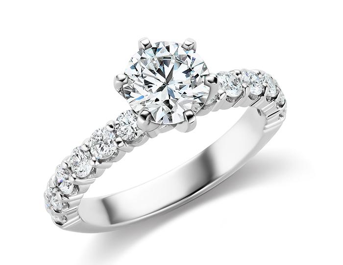 Round brilliant cut diamond engagement ring in platinum.