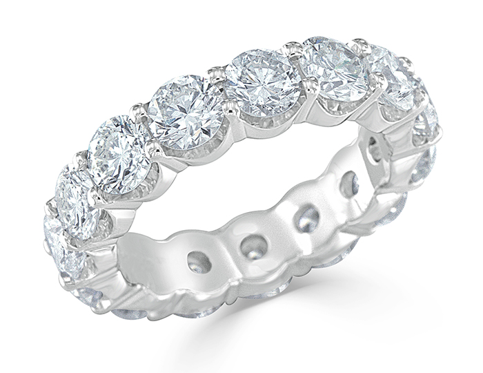 Round brilliant cut diamond eternity band in platinum.                                                          In stock from $4,150 to $41,000.