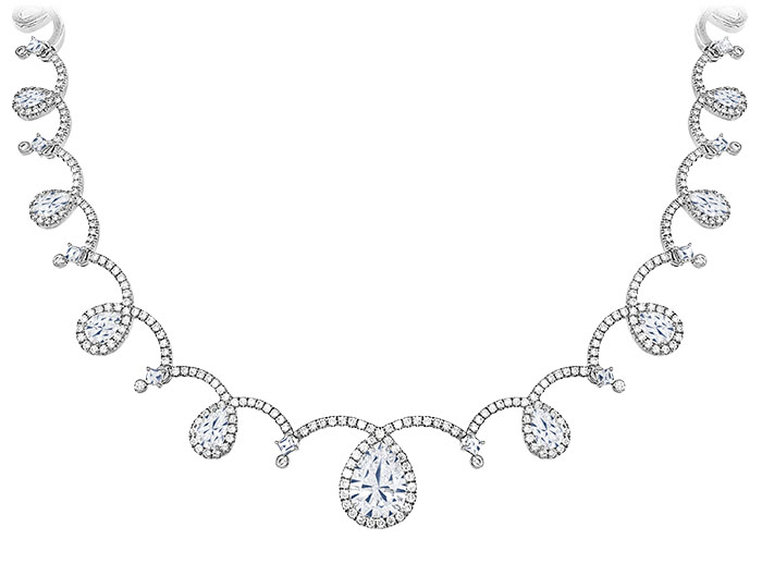 Pear shape, blaze cut and round brilliant cut diamond necklace in 18k white gold.