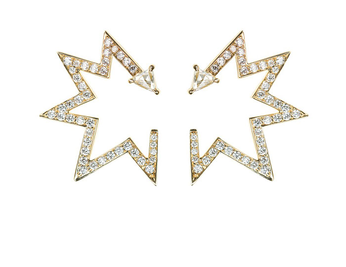 Nikos Koulis V collection trillion and round brilliant cut diamond earrings in 18k yellow gold.