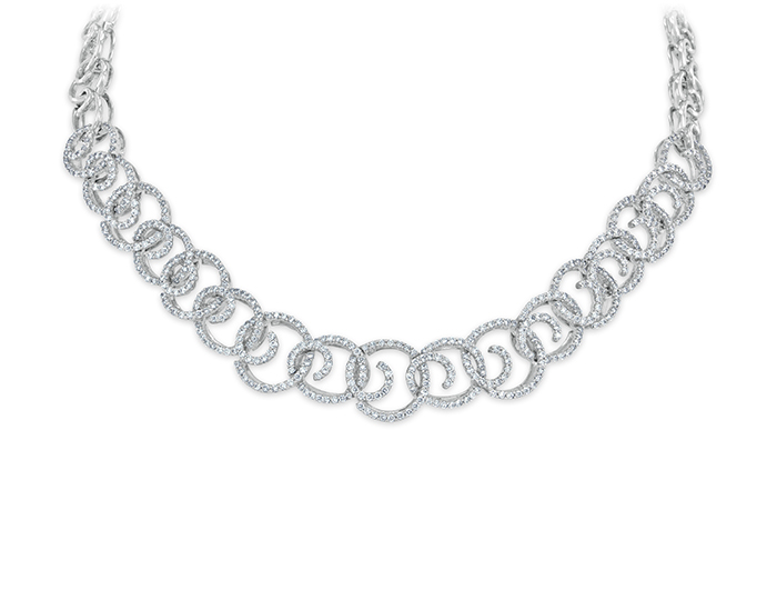 Round brilliant cut diamond necklace in 18k white gold.