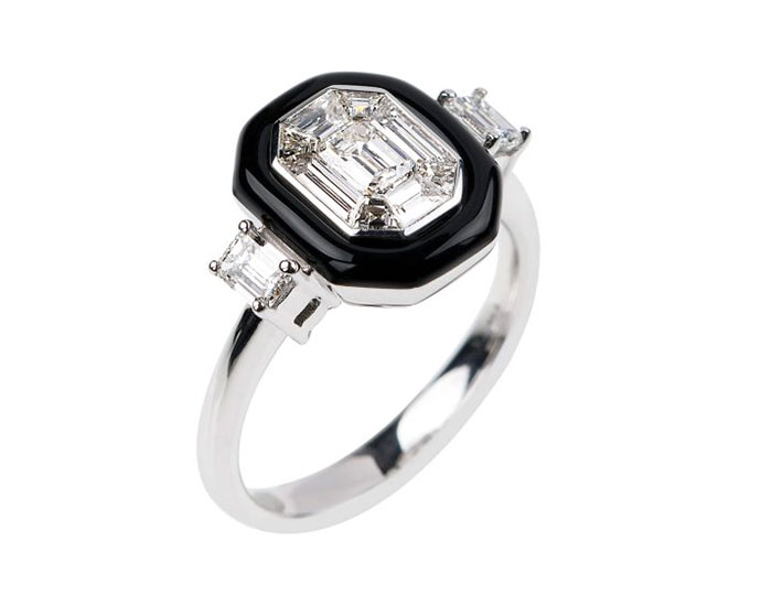 Nikos Koulis Oui collection emerald cut diamond and black enamel ring in 18k white gold.