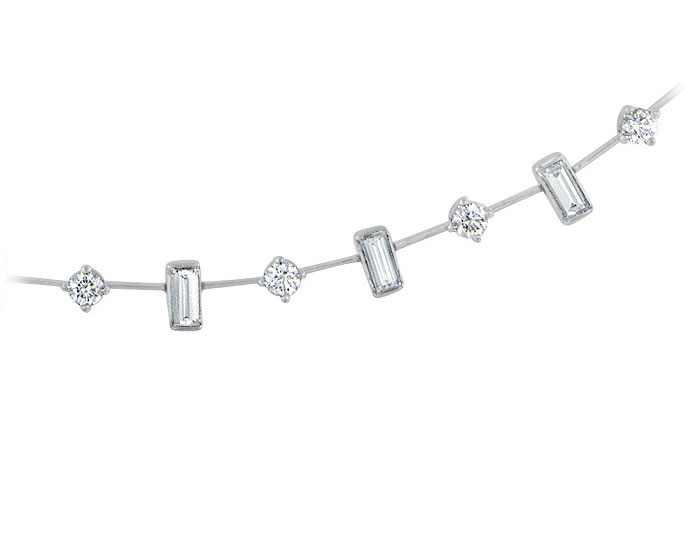 Bez Ambar baguette cut and round brilliant cut diamond necklace in 18k white gold.