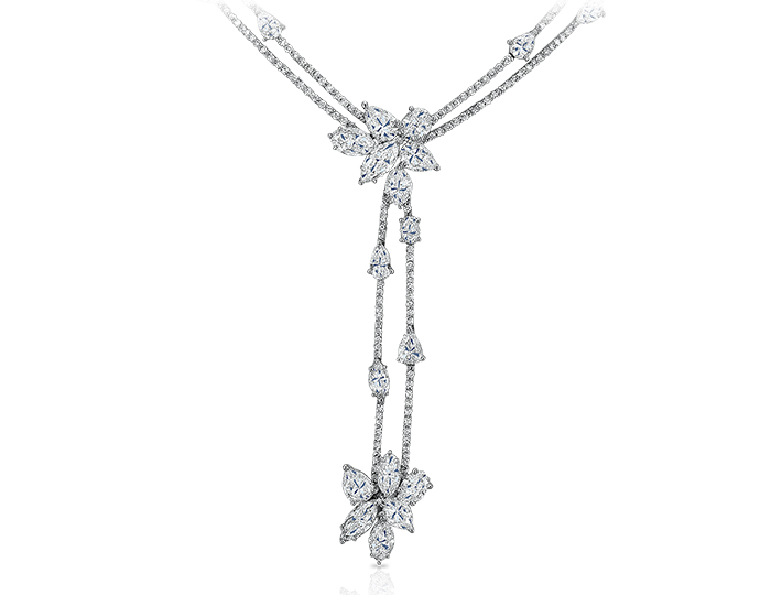 Marquise, oval, pear shape and round brilliant cut diamond necklcae in platinum.