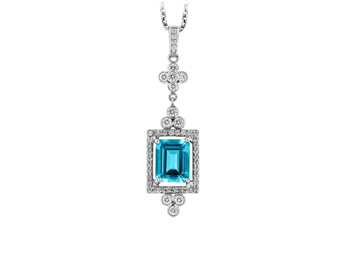 Aquamarine and round brilliant cut diamond pendant in platinum.