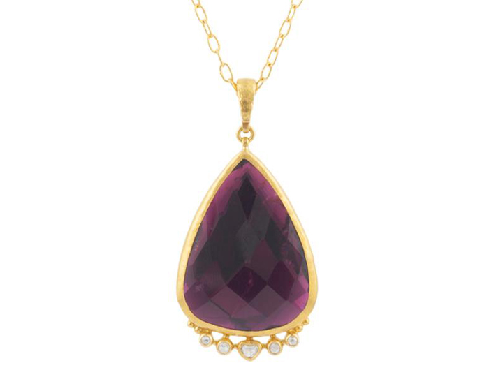 Gurhan Elements Collection pink tourmaline and diamond necklace in 24k and 18k yellow gold.