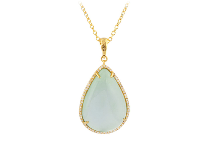 Gurhan Taormina Collection chalcedony and diamond pendant in 24k yellow gold.