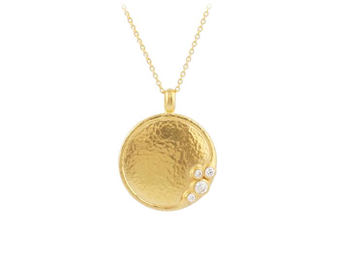 Gurhan Pointelle Collection round brilliant cut diamond pendant in 22k yellow gold.