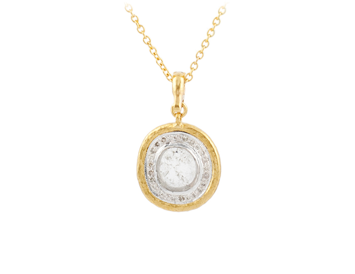 Gurhan one-of-a-kind diamond slice and round brilliant cut diamond pendant in 24k yellow gold.