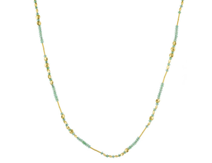 Gurhan Delicate Collection Emerald necklace in 24k and 22k yellow gold.