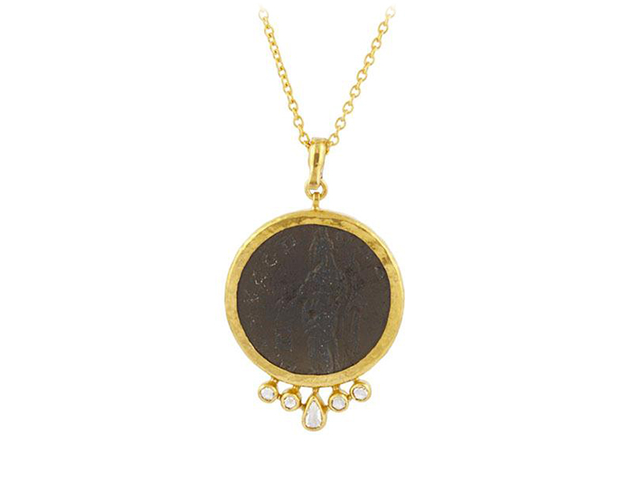 Gurhan one-of-a-kind Roman coin and diamond pendant in 24k yellow gold.