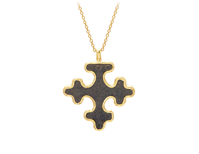 Gurhan one-of-a-kind bronze Byzantine cross framed in 24k yellow gold.