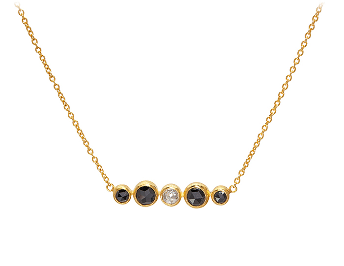 Gurhan Elements Collection black diamond and rose cut white diamond pendant in 24k yellow gold.