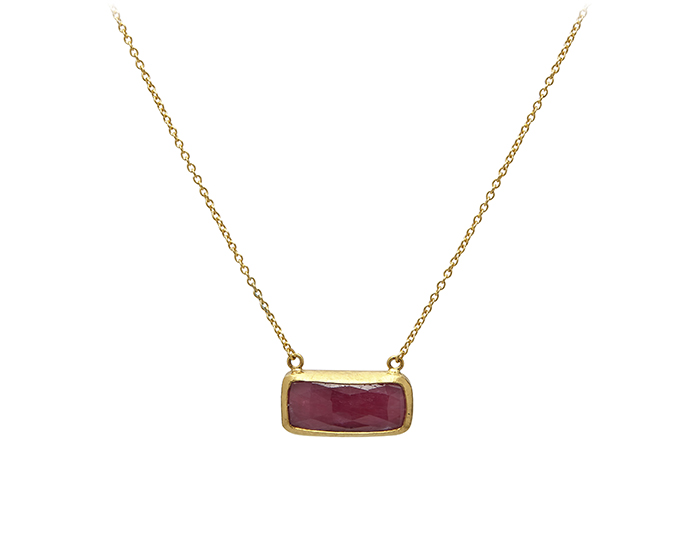 Gurhan one-of-a-kind ruby necklace in 24k yellow gold.