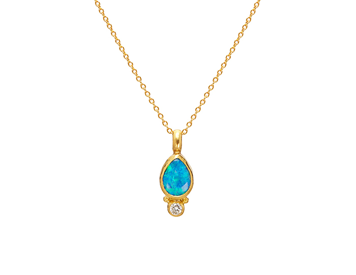 Gurhan Amulet Hue Collection opal and round brilliant cut diamond pendant in 24k yellow gold.