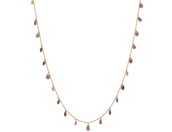 Gurhan Delicate Collection pink tourmaline necklace in 24k and 22k yellow gold.