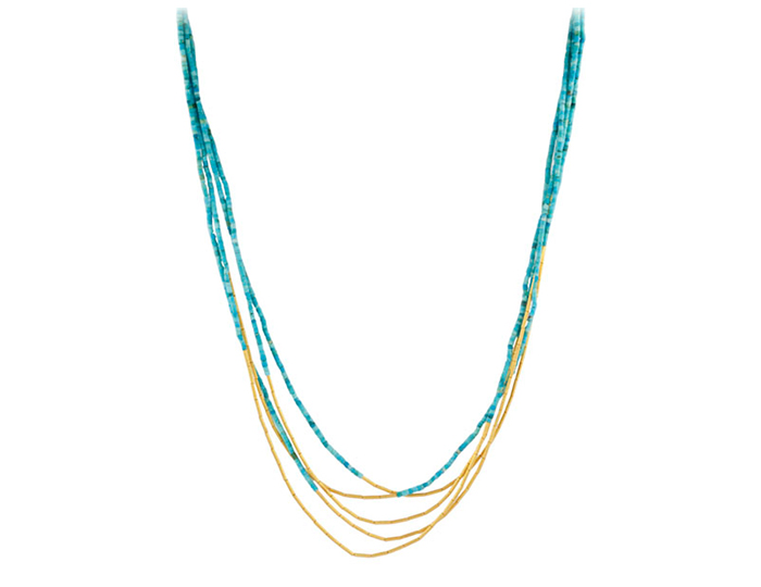 Gurhan Delicate Collection turquoise necklace in 24k and 22k yellow gold.