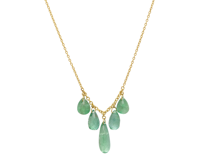 Gurhan emerald necklace in 24k and 18k yellow gold.