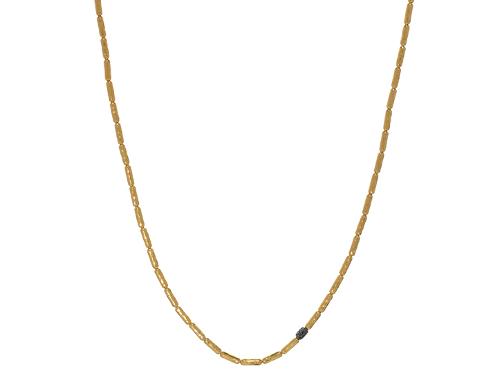 Gurhan round brillant black diamond cut necklace in 24k yellow gold.
