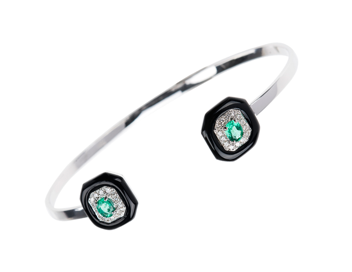 Nikos Koulis Oui Collection enamel bracelet with emeralds and round brilliant cut diamonds in 18k white gold.