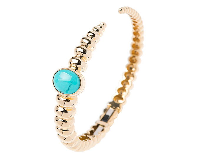Nikos Koulis Spectrum collection turquoise bracelet in 18k yellow gold.