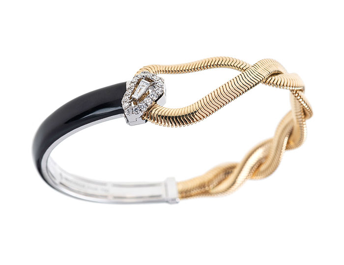 Nikos Koulis Feelings collection baguette and round brilliant cut diamond and black enamel bracelet in 18k yellow and white gold.