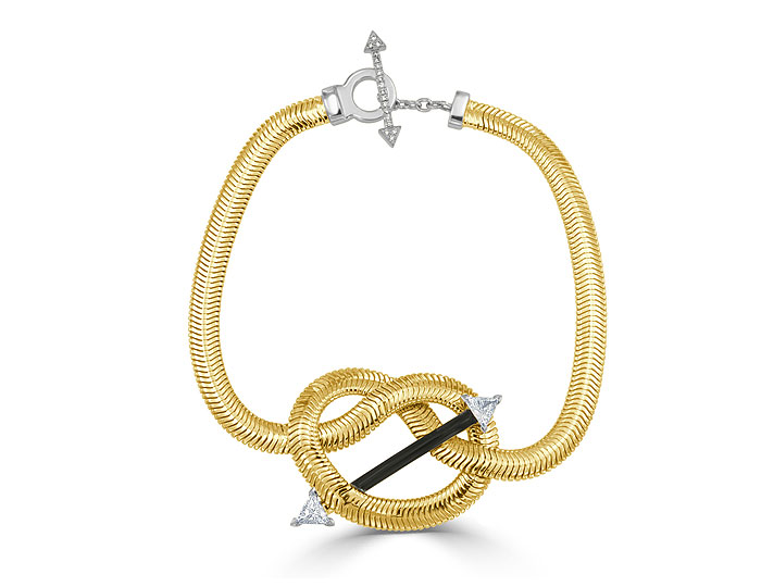 Nikos Koulis Feelings collection black enamel, trillion cut and round brilliant cut diamond bracelet in 18k yellow gold.