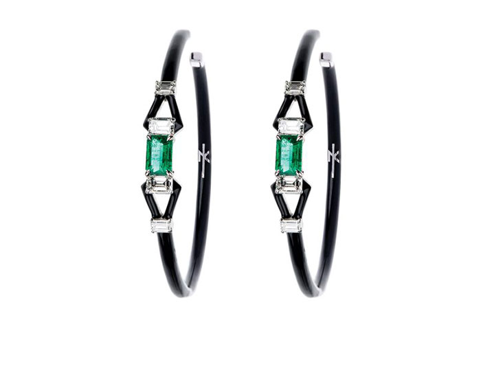 Nikos Koulis Oui collection emerald diamond and black enamel earrings in 18k white gold.